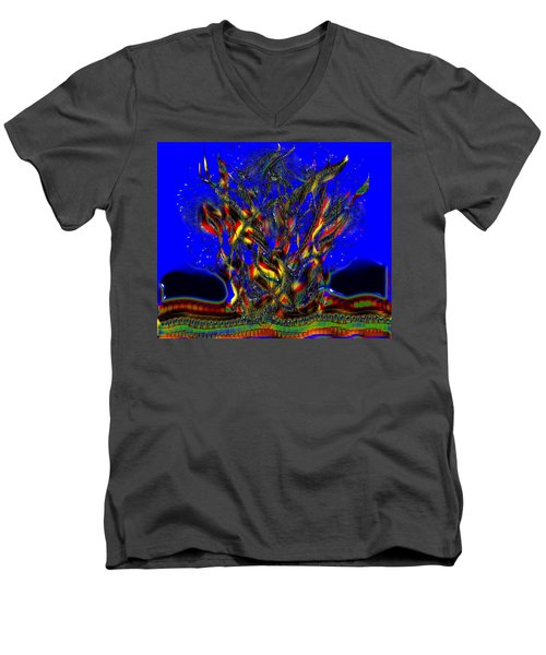 Men's V-Neck T-Shirt featuring the digital art Camp Fire Delight by Alec Drake