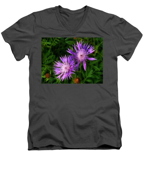 Men's V-Neck T-Shirt featuring the photograph Can Flowers Say Boo by Steve Taylor