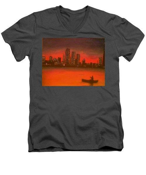 Men's V-Neck T-Shirt featuring the painting Canoe By The City by Christy Saunders Church