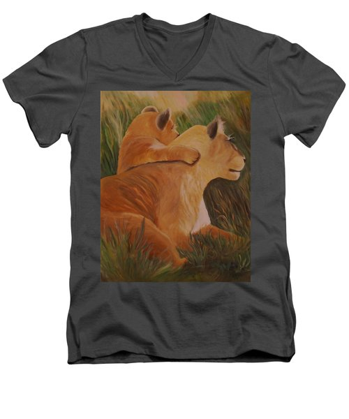 Men's V-Neck T-Shirt featuring the painting Cat Family by Christy Saunders Church