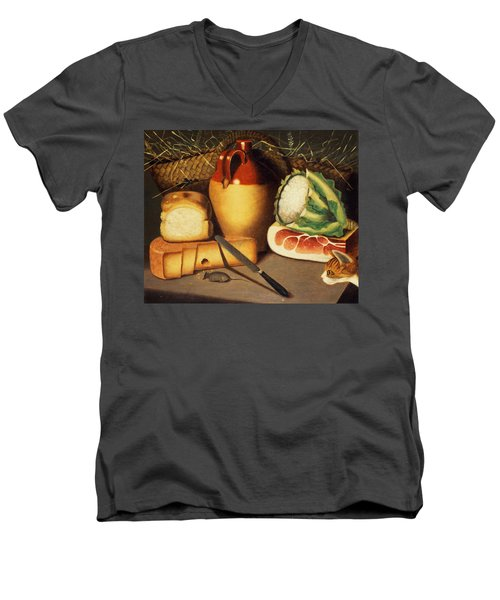 Cat Mouse Bacon And Cheese Men's V-Neck T-Shirt by Anonymous