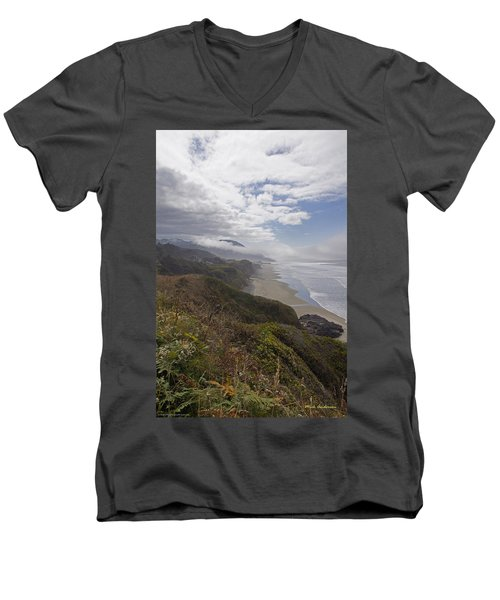 Men's V-Neck T-Shirt featuring the photograph Central Oregon Coast Vista by Mick Anderson