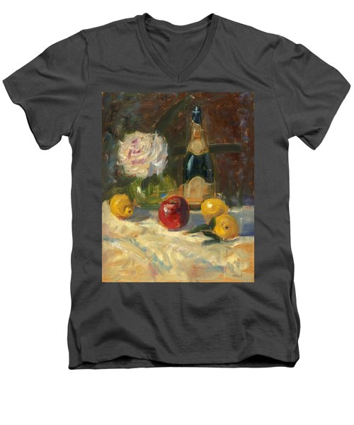 Men's V-Neck T-Shirt featuring the painting Champagne And Roses by Marlyn Boyd