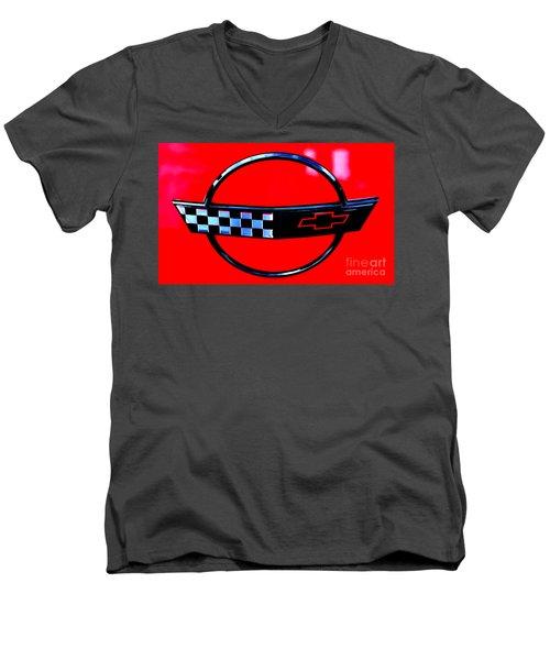 Men's V-Neck T-Shirt featuring the digital art Chevrolet Corvette by Tony Cooper