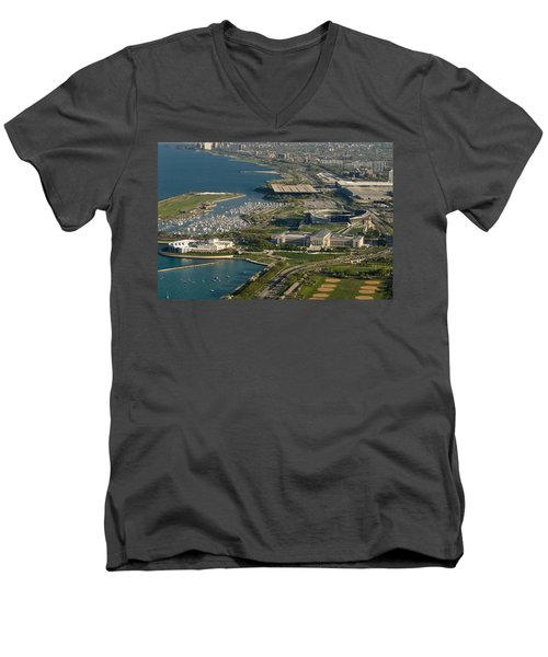 Chicagos Lakefront Museum Campus Men's V-Neck T-Shirt by Steve Gadomski