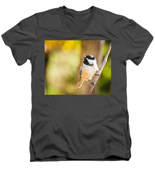 Men's V-Neck T-Shirt featuring the photograph Chickadee by Cheryl Baxter