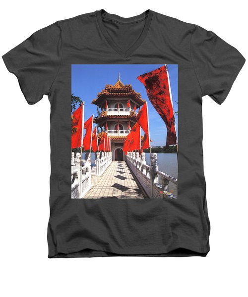 Men's V-Neck T-Shirt featuring the photograph Chinese Gardens  North Pagoda 19c by Gerry Gantt