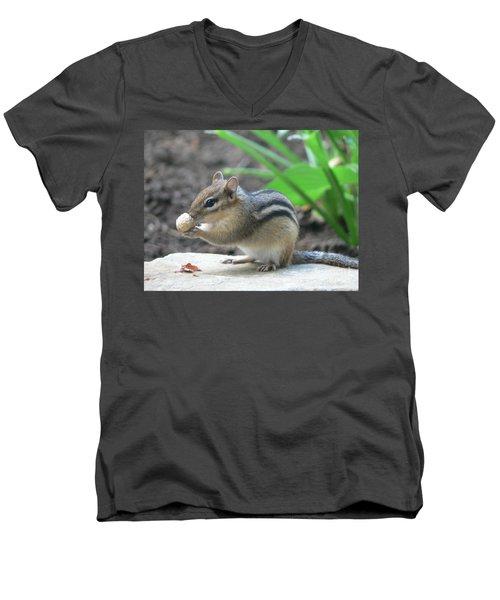 Men's V-Neck T-Shirt featuring the photograph Chipmunk by Laurel Best