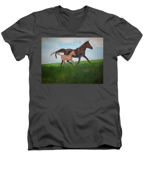 Men's V-Neck T-Shirt featuring the painting Chloe's Dream by George Pedro