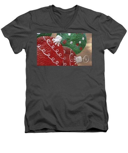 Men's V-Neck T-Shirt featuring the photograph Christmas Ornaments by Patrice Zinck