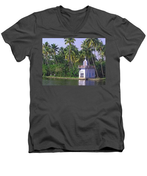 Church Located On A Coastal Lagoon In Kerala In India Men's V-Neck T-Shirt