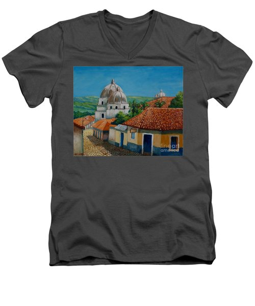 Church Of Pespire In Honduras Men's V-Neck T-Shirt