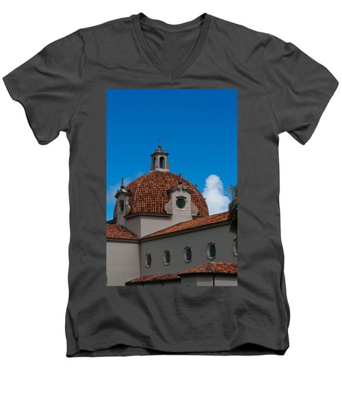 Men's V-Neck T-Shirt featuring the photograph Church Of The Little Flower Dome And Cross by Ed Gleichman