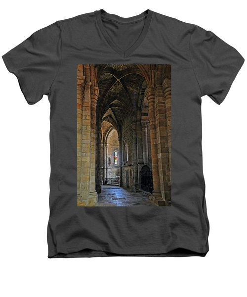 Men's V-Neck T-Shirt featuring the photograph Church Passageway Provence France by Dave Mills