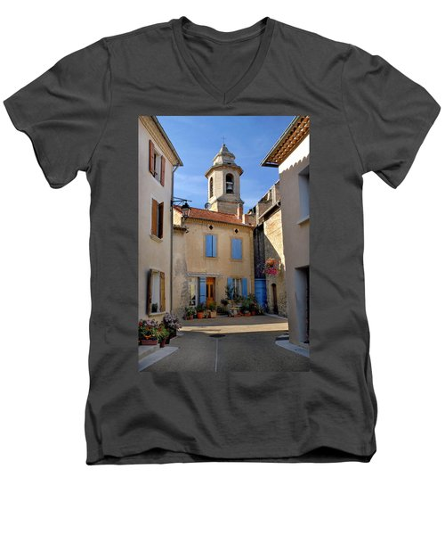 Men's V-Neck T-Shirt featuring the photograph Church Steeple In Provence by Dave Mills