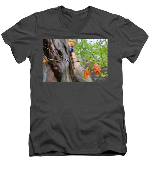 Climber In Fall Men's V-Neck T-Shirt