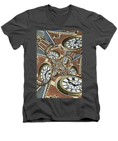 Clocked Men's V-Neck T-Shirt by Clare Bambers