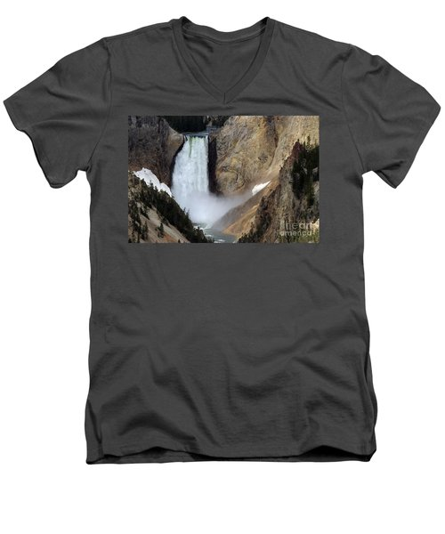 Men's V-Neck T-Shirt featuring the photograph Close Up Of Lower Falls by Living Color Photography Lorraine Lynch