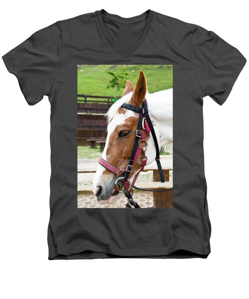Men's V-Neck T-Shirt featuring the photograph Closeup Of Horse by Yew Kwang