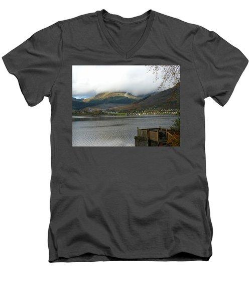 Men's V-Neck T-Shirt featuring the photograph Cloud Over Beinn An Lochain by Lynn Bolt
