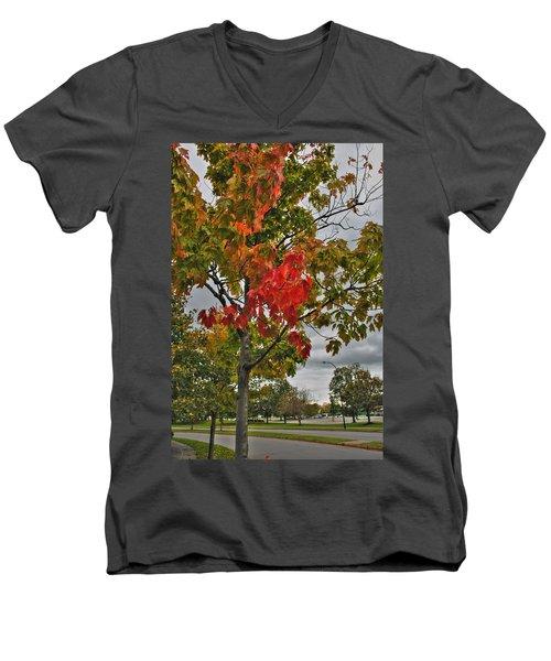 Men's V-Neck T-Shirt featuring the photograph Cold Autumn Breeze  by Michael Frank Jr