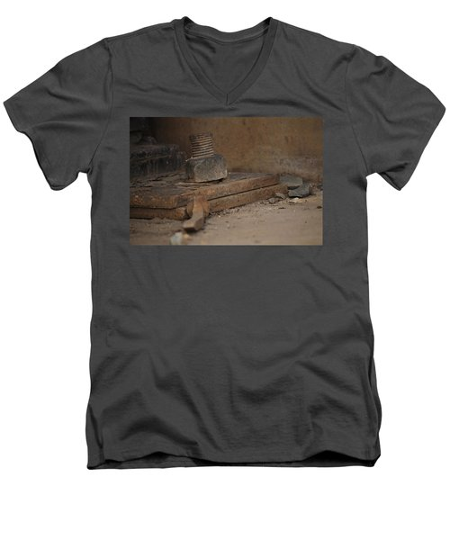 Men's V-Neck T-Shirt featuring the photograph Color Of Steel 1 by Fran Riley
