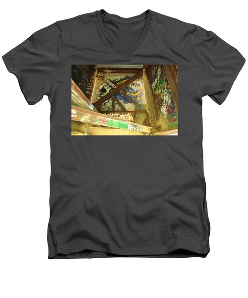 Men's V-Neck T-Shirt featuring the photograph Color Of Steel 8 by Fran Riley