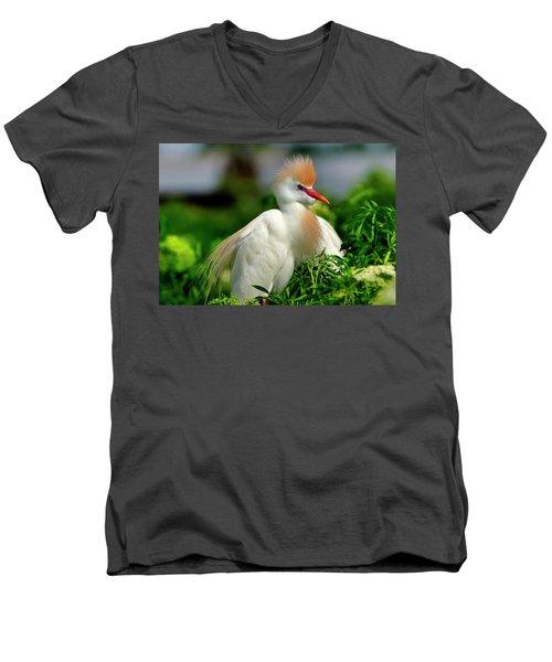 Colorful Cattle Egret Men's V-Neck T-Shirt