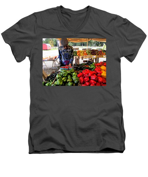 Men's V-Neck T-Shirt featuring the photograph Colorful Fruit And Veggie Stand by Kym Backland