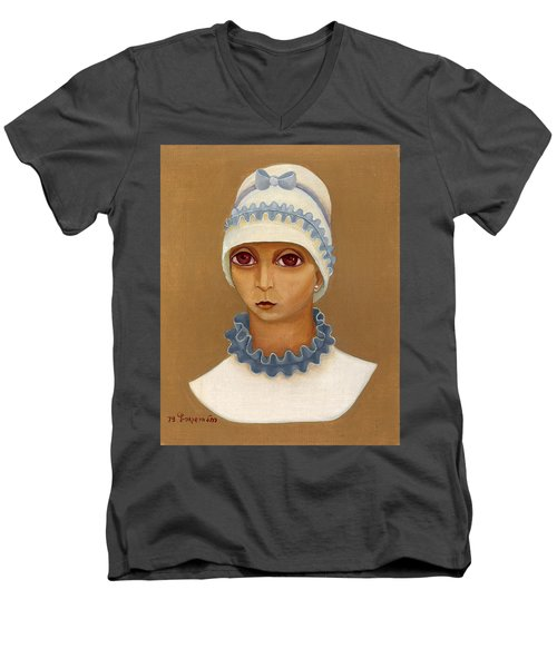 Colorful Young Woman Brown Eyes Blue White Hat Collar  With Ribbon Small Lips Men's V-Neck T-Shirt by Rachel Hershkovitz