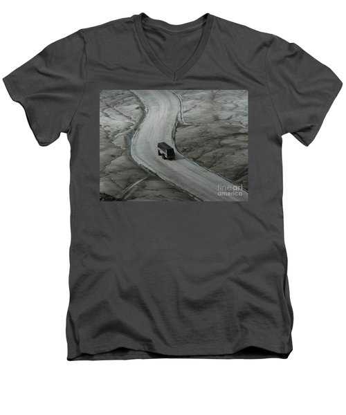 Men's V-Neck T-Shirt featuring the photograph Columbia Icefield Glacier Adventure by Laurel Best