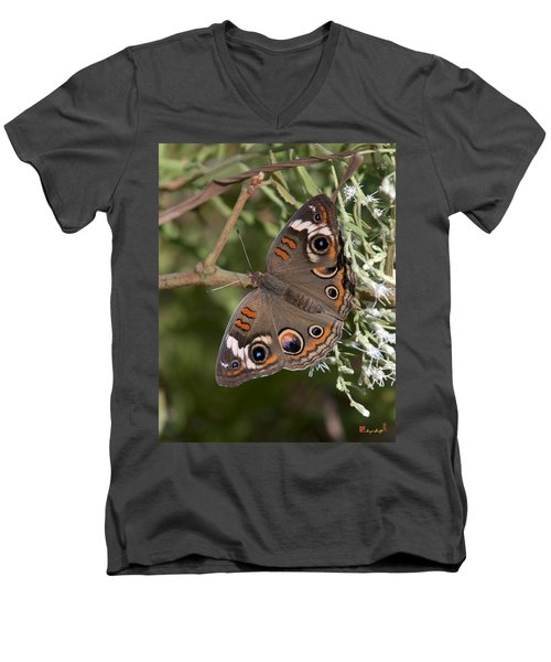 Common Buckeye Butterfly Din182 Men's V-Neck T-Shirt