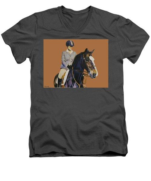 Concentration - Hunter Jumper Horse And Rider Men's V-Neck T-Shirt by Patricia Barmatz