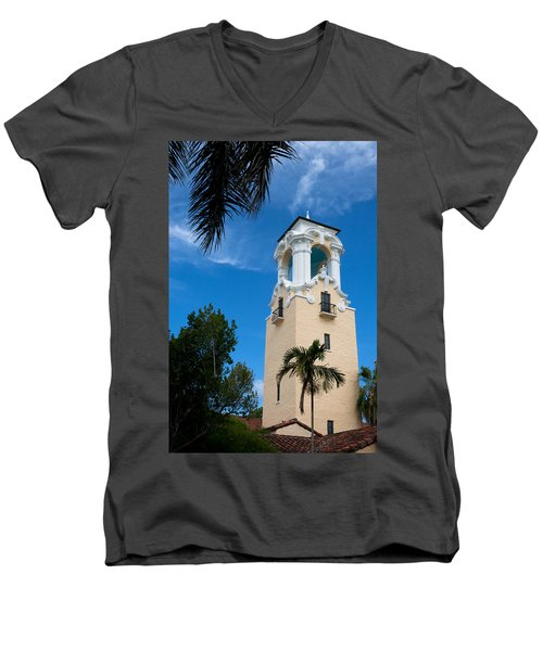 Men's V-Neck T-Shirt featuring the photograph Congregational Church Of Coral Gables by Ed Gleichman