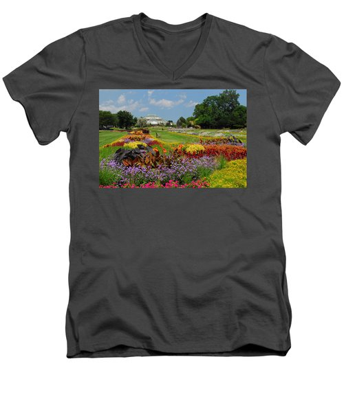 Men's V-Neck T-Shirt featuring the photograph Conservatory Gardens by Lynn Bauer