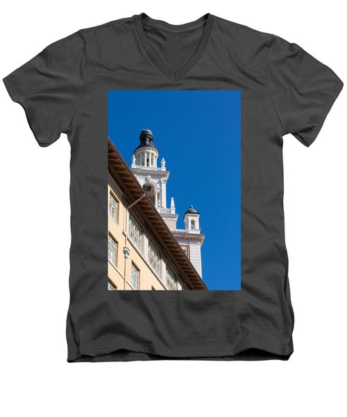 Men's V-Neck T-Shirt featuring the photograph Coral Gables Biltmore Hotel Tower by Ed Gleichman