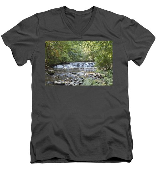 Men's V-Neck T-Shirt featuring the photograph Corbetts Glen Waterfall by William Norton