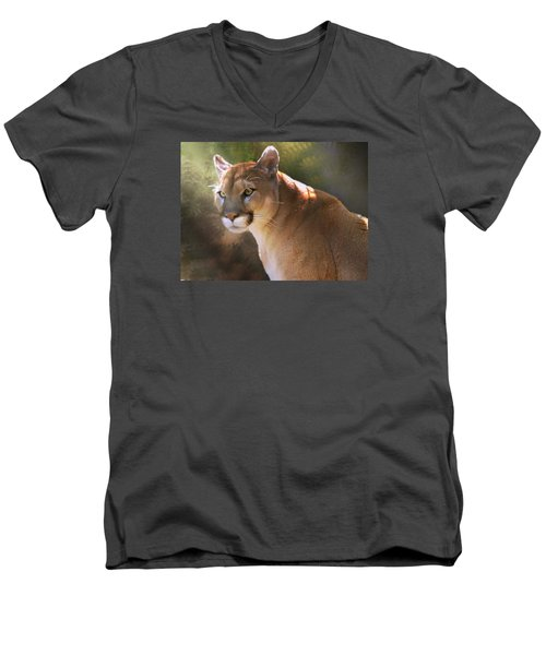 Men's V-Neck T-Shirt featuring the digital art Cougar by Mary Almond