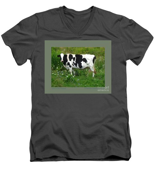 Cow In The Flowers Men's V-Neck T-Shirt by Patricia Overmoyer