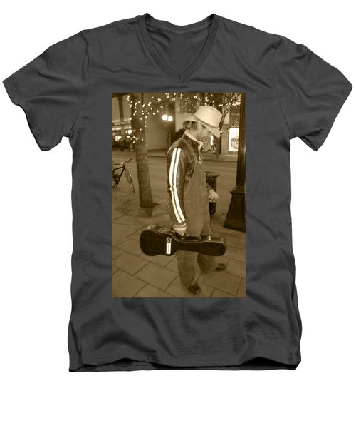 Men's V-Neck T-Shirt featuring the photograph Cowboy Musician On Streets by Kym Backland