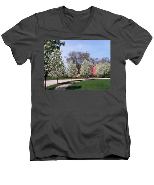 Men's V-Neck T-Shirt featuring the photograph Crab Apple Trees by Cynthia Amaral