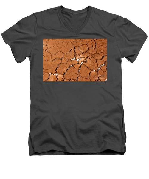 Men's V-Neck T-Shirt featuring the photograph Cracked Red Soil  by Les Palenik