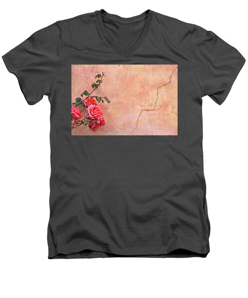 Cracked Wall And Rose Men's V-Neck T-Shirt