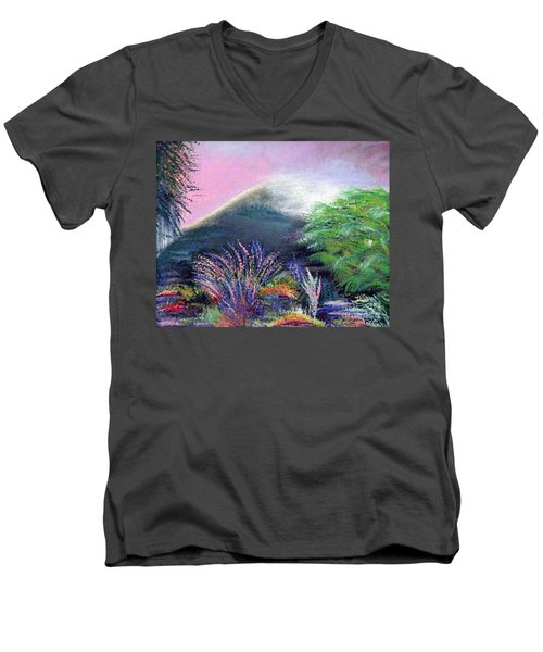 Men's V-Neck T-Shirt featuring the painting Croagh Patrick by Alys Caviness-Gober