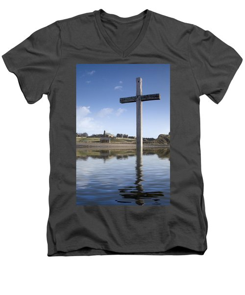 Men's V-Neck T-Shirt featuring the photograph Cross In Water, Bewick, England by John Short