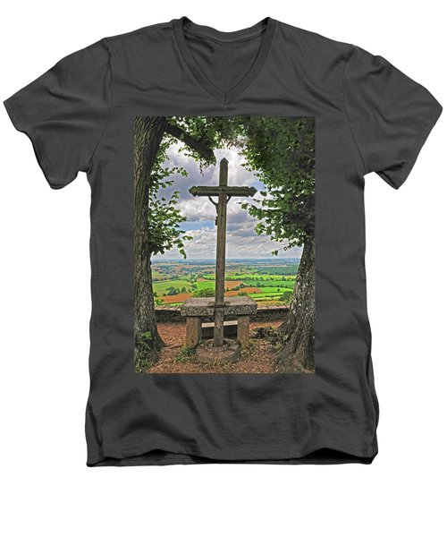 Men's V-Neck T-Shirt featuring the photograph Crucifix Overlooking The French Countryside by Dave Mills