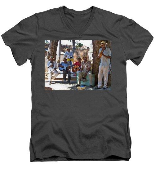 Men's V-Neck T-Shirt featuring the photograph Cuban Band by Lynn Bolt