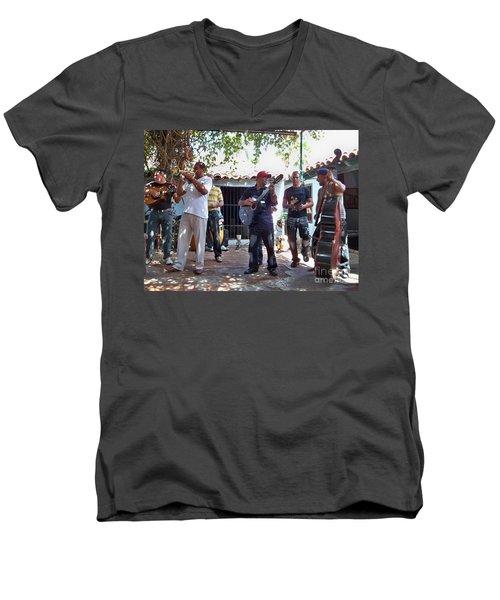 Men's V-Neck T-Shirt featuring the photograph Cuban Musicians by Lynn Bolt