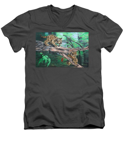 Men's V-Neck T-Shirt featuring the painting Cubs At Play by Wendy Shoults