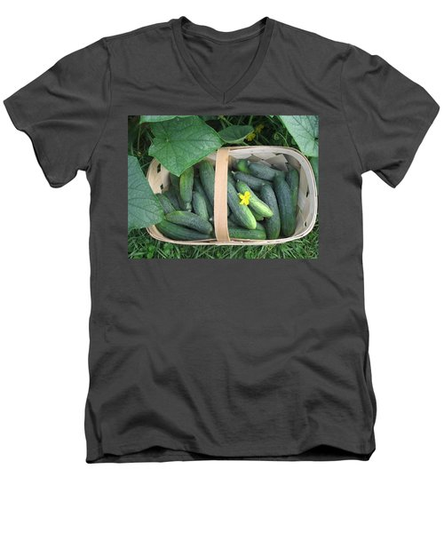 Cucumbers In Garden Basket Men's V-Neck T-Shirt